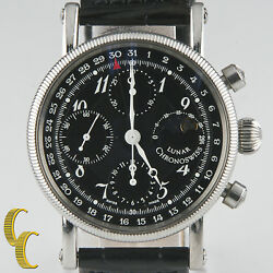 Chronoswiss Lunar Chronograph Stainless Steel Menand039s Watch Leather Band