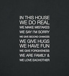 In This House We Do Real We Make Mistakes Family Removable Wall Vinyl Decal 2058
