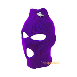 Purple Ski Mask Beanie 3 Hole Knitted Cap Hat Warm Face Winter Snow Mens Womens