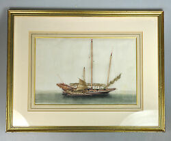 Antique Chinese China Qing Dynasty Watercolor Painting Pith Album Junk 1850