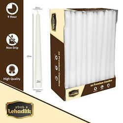 Unscented White Bistro Tapered Dinner Food Table Candles 8-9 Hours Burn Time