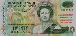 New Zealand -1996- 20 Banknote Uncirculated Queenand039s 70th Birthday Scarce