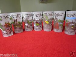 7 Gay Fad Currier And Ives Scenes Tall Frosted Glasses Cups Drinks Early 1950 1940
