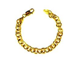 18kt Solid Yellow Gold Round Rolo Charm Link Bracelet 8 Inch 28 Grams 8.5 Mm