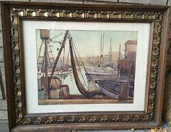 Donna Norine Schuster Original Signed Wc Painting- Boat In Dock Harbour With Net