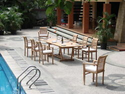 Dsms Grade-a Teak Wood 9pc Dining 94 Mas Rectangle Table Stacking Arm Patio Set