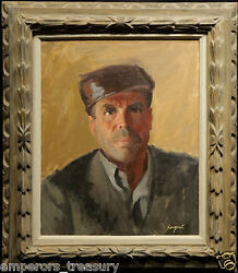 20th Century Oil Painting Portrait Of Man By Dick Sargent American 1911-1978