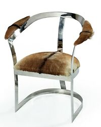 Set Of Two 30 H Chair Goat Brindle Polished Steel Frame Spectacular Quality