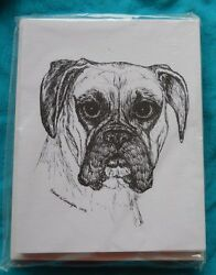 Boxer Uncropped Ears 18 Blank Notecards with Linen Style Envelopes New