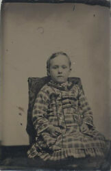 Very Sharp Tintype Portrait Of Serious Young Girl W/ Light Eyes In Plaid Dress
