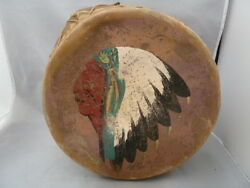 Rare Native American Indian Drum - Painted Hide Tops And Sides -great