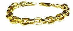 10k Solid Yellow Gold Handmade Rolo Cable Link Men's Bracelet 9.5 34 Grams 8mm