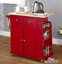 Red Kitchen Cart Island Rolling Storage Utility Cabinet Wood Portable Spice Rack