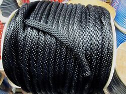 Anchor Rope Dock Line 5/8 X 300and039 Braided Black Made In Usa