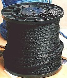Anchor Rope Dock Line 3/8 X 50and039 Braided 100 Nylon Black Made In Usa