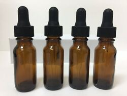 4 - 1/2 Oz Amber Glass Bottle With Glass Eye Dropper 15ml - Pack Of 4 , New