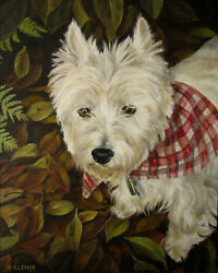 ILLENYE Oil Painting WESTIE CUSTOM PET PORTRAIT West Highland Terrier 8x10 in.