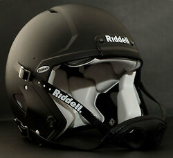 Adult Large Riddell Speed Football Helmet Flat Black With S2bd-sw-sp Facemask