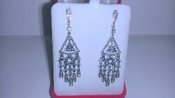 14k White Gold Chandelier Earrings With Diamonds And Blue Topaz