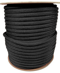 Anchor Rope Dock Line 3/8 X 400and039 Double Braided 100 Nylon Black Made In Usa