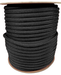 Anchor Rope Dock Line 5/8 X 200and039 Double Braided 100 Nylon Black Made In Usa