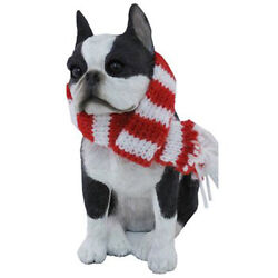 Sandicast Boston Terrier with Scarf Christmas Holiday Ornament