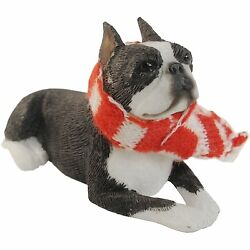 Sandicast Boston Terrier lying down w scarf Christmas Ornament (XSO19306)