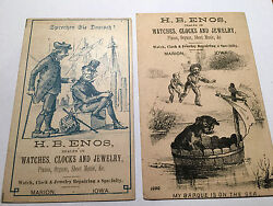 Two Advertising Cards H.b. Enos For Watches Clocks And Jewelry