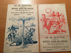 Two Advertising Cards H.b. Enos For Watches- Clocks - Jewelry