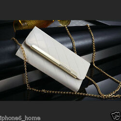iPhone 66 Plus Patent Leather White Clutch Case Handbag with Chain