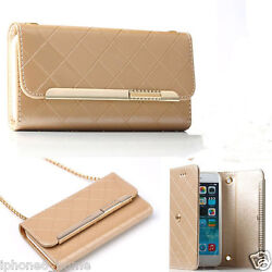 Patent Leather Gold Clutch-Handbag Folio Case + Chain For iPhone 66s