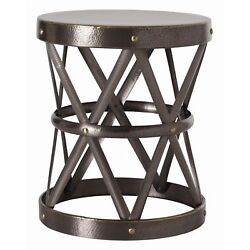 21.5 Round Accent Table Modern Iron Brass Glass Natural Welds Clear Gray Gold Y