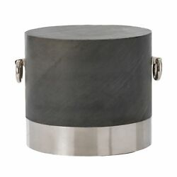 26.5 Accent Table Modern Slate Steel Marble Burnt Brass Polished Nickel White G