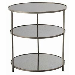 28 Round Accent Table Contemporary Iron Mirror Glass Zinc Oxidized Brass Clear