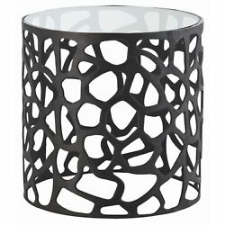 22.5 Round Accent Table Modern Aluminum Glass Marble Bronze Clear Black Yes