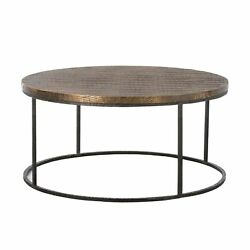 38 Round Coffee Table Contemporary Natural Iron Brass Antique Gray Gold Sheet