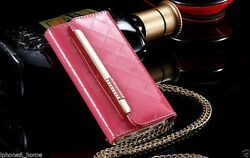 For iPhone 66s Patent Leather Bright Pink Clutch Handbag Wallet Case Cover