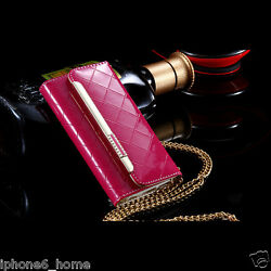 For iPhone 66s Patent Leather Hot Pink Clutch-Handbag Flip Case Wallet + Chain
