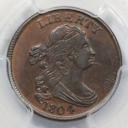 1804 C-6 R-2 Pcgs Au 55 Spiked Chin Draped Bust Half Cent Coin 1/2c