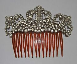 Joy756 Art Deco Ornamental Comb. Celluloid, Metal And Strass. Spain. 30s