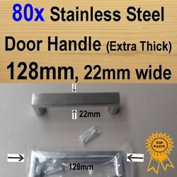 80x Cabinet Door Drawer Handles -stainless Steel Square 128mm 22mm Extra Thick