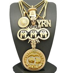 Hip Hop Iced Qc And Migos Yrn And Medusa And Jesus Pendant 5 Fashion Necklace Set