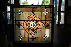 Large Antique Stained Glass Window Vibrant Colors Beveled Glass 1 Left