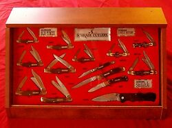 Schrade 14 Knife Display 1990and039s Uncle Henry And Old Timer W/original Packages Nos