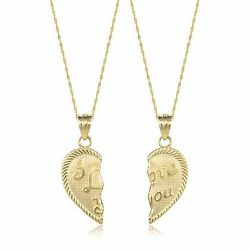 14k Solid Yellow Gold I Love You Half Heart Necklace Pendant +2 Singapore Chains