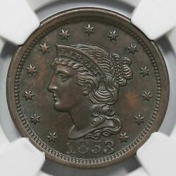 1853 N-26 Ngc Ms 64 Bn Eds Cc Level Braided Hair Large Cent Coin 1c