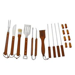 Grilling Bbq Tools 18 Pcs Stainless Steel Set Riveted Wood Handles Case Storage