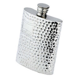 6 Oz. English Pewter Flask With Hammered Finish Engraved Free New In Box