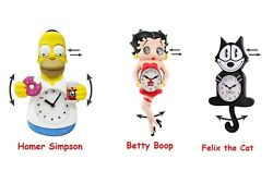 Licensed Novelty Motion Wall Clock Homer Simpson Betty Boop Felix The Cat