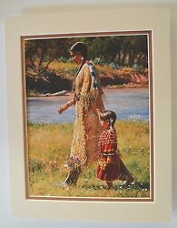 Summer On The Greasy Grass By Martin Grelle Native American Tan 9x12 Dble Matted